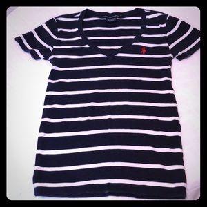 Polo Ralph Lauren V-neck Navy/white stripe